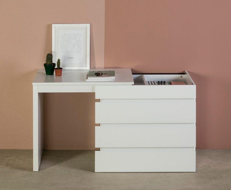 Comoda escritorio elbir lacado blanco 80-150x55