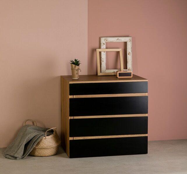 Comoda escritorio elbir negro roble 80-150x55 cm