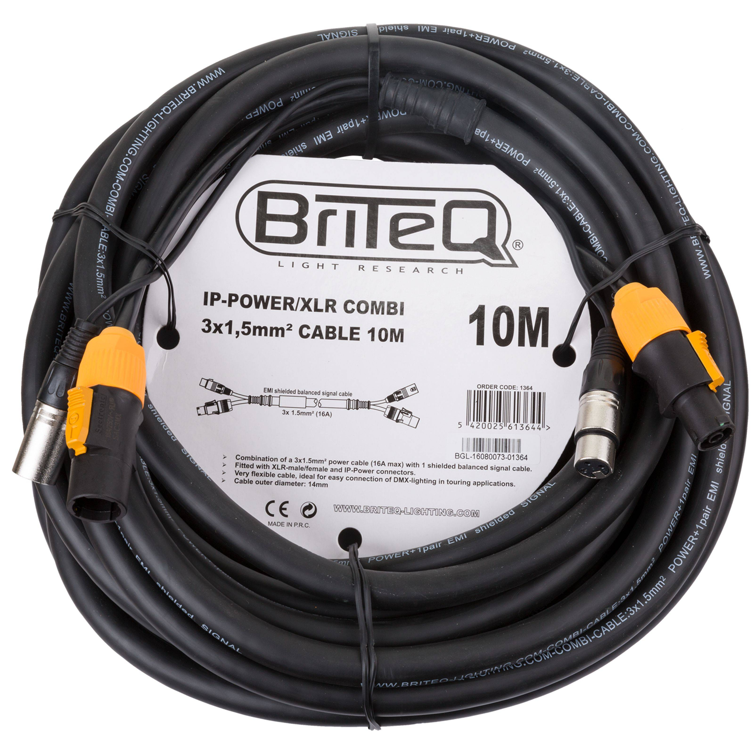 Briteq IP-Powercon/XLR combi cable 10m