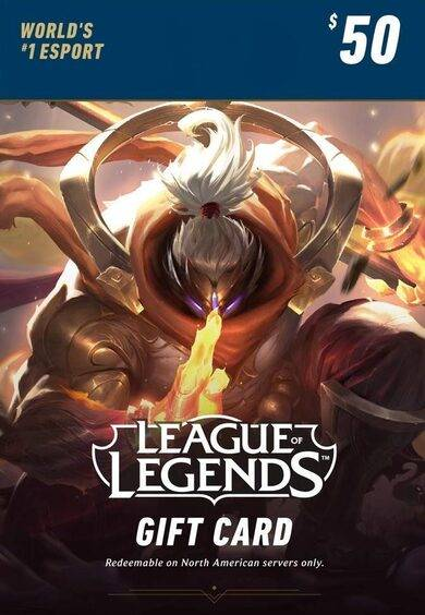 Riot Games League of Legends $50 Gift Card Key – 7200 Riot Points - NA Server Only