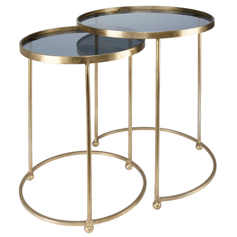 Maisons du Monde 2 mesas auxiliares de metal dorado y cristal