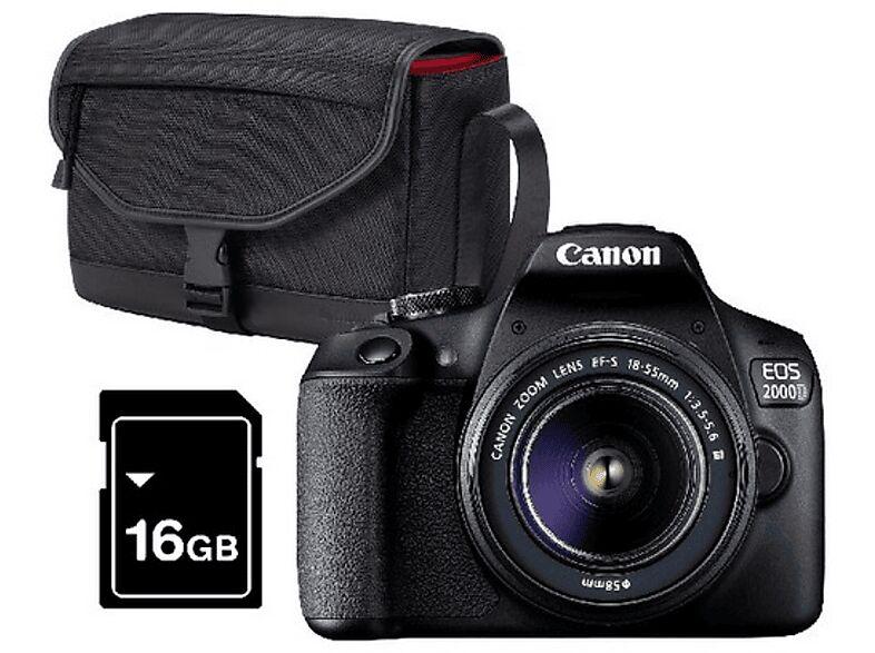 Canon Cámara réflex - Canon EOS 2000D, 24.1 MP, Full HD, Negro + Objetivo 18-55mm f/3.5-5.6 + Funda + SD 16 GB