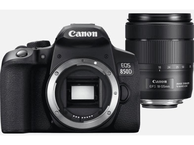 Canon Cámara réflex - Canon EOS 850D, 24.1 MP, 25 fps 4K, WiFi, 18-135 mm, Negro