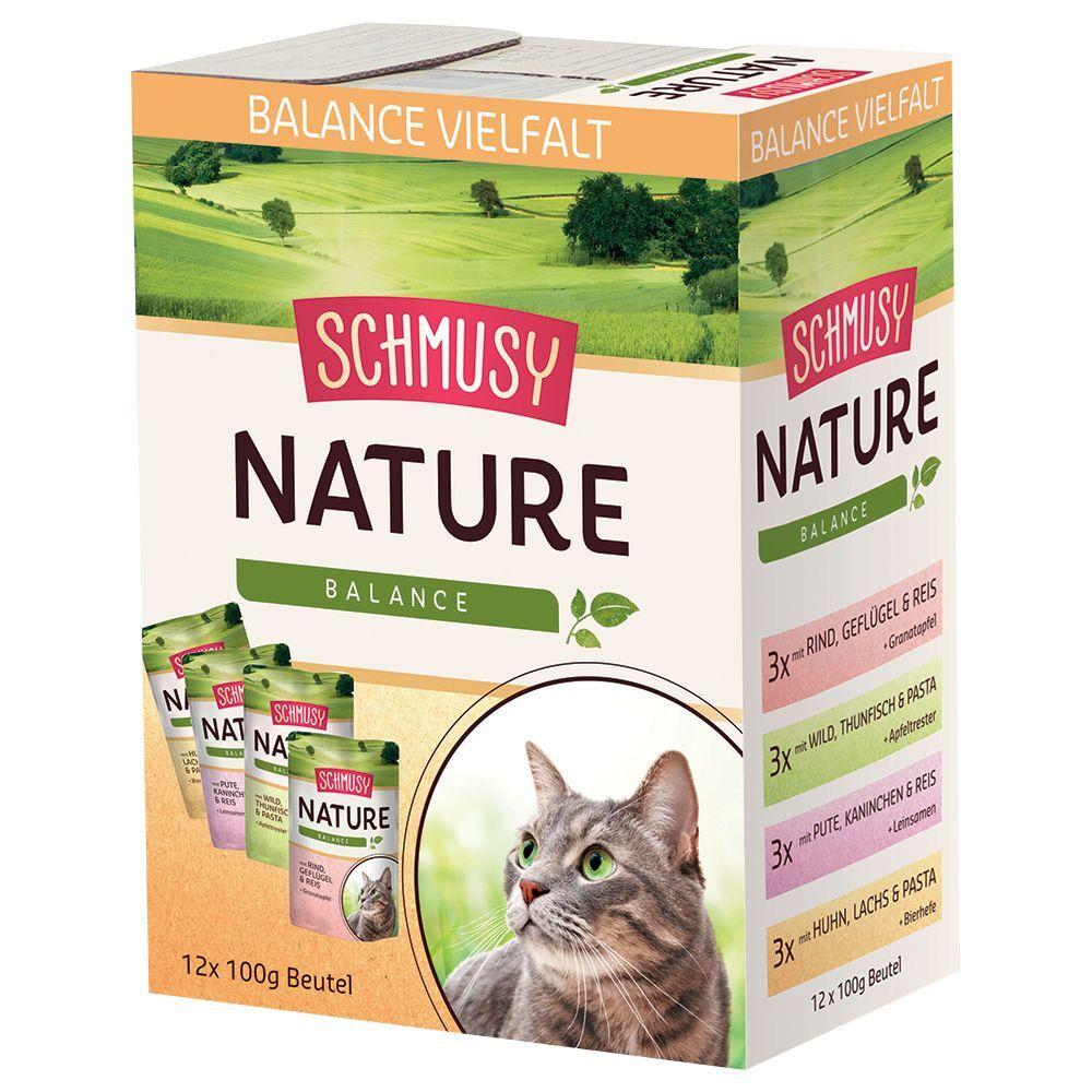 Schmusy Nature Balance en bolsitas 12 x 100 g - Vacuno, ave, arroz y granada