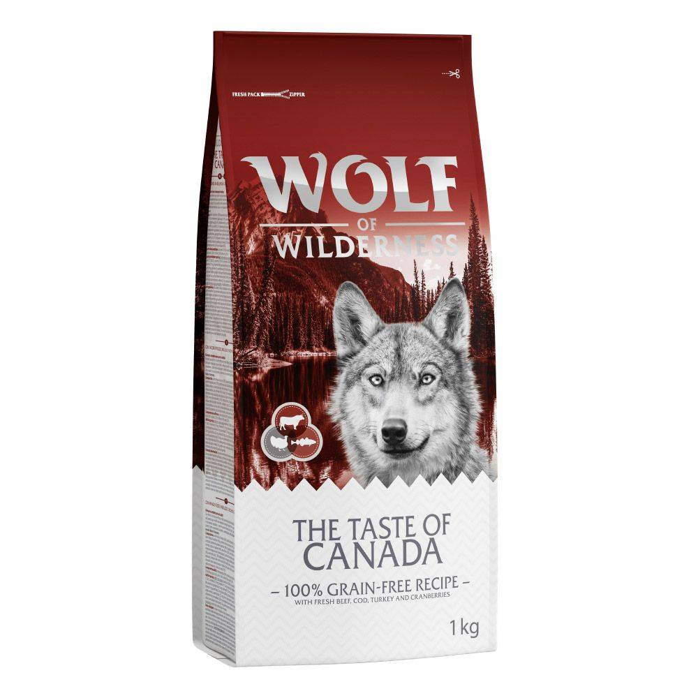 Wolf of Wilderness Adult 2 x 1 kg - Pack de prueba mixto - The Taste Of Canada + High Valley vacuno (Soft & Strong)