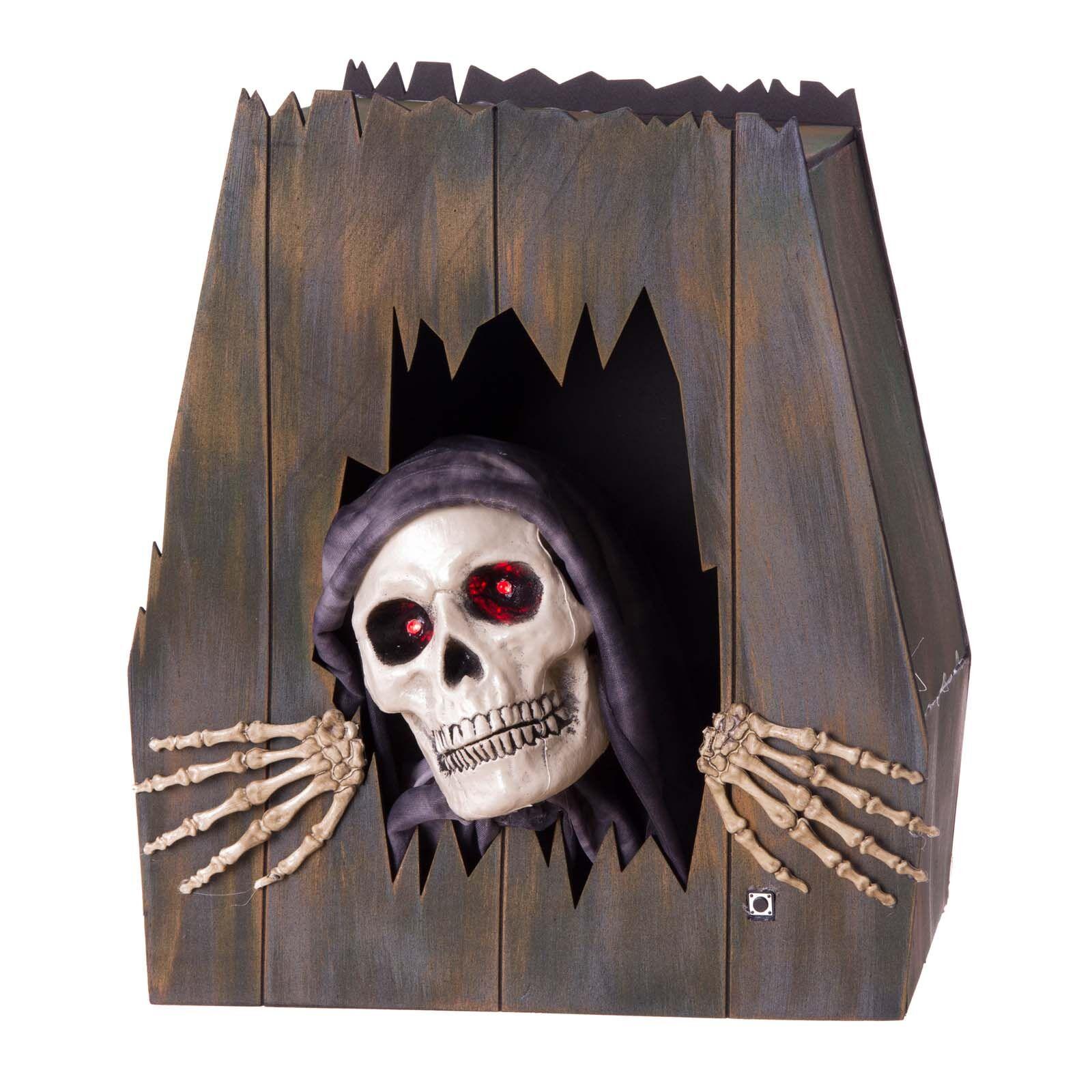 LOLA home Ataúd esqueleto con luz, sonido y movimiento para Halloween de goma eva de 39x19x43 cm