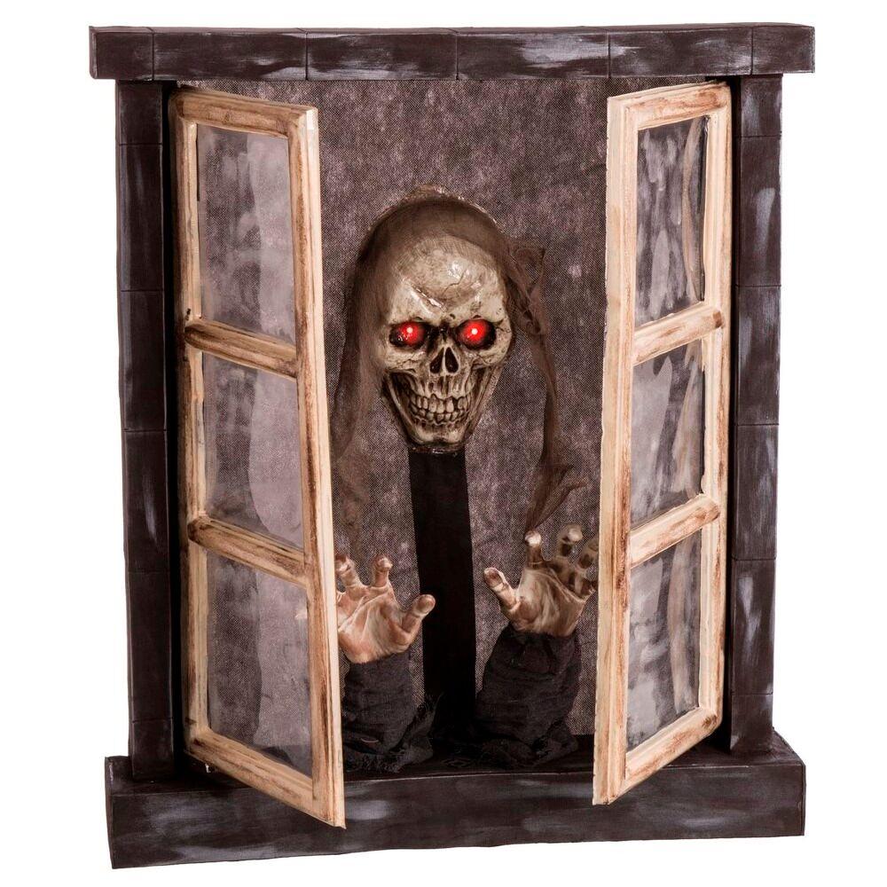 LOLA home Ventana con luz, sonido y movimiento para Halloween gris goma eva de 72x13x85 cm