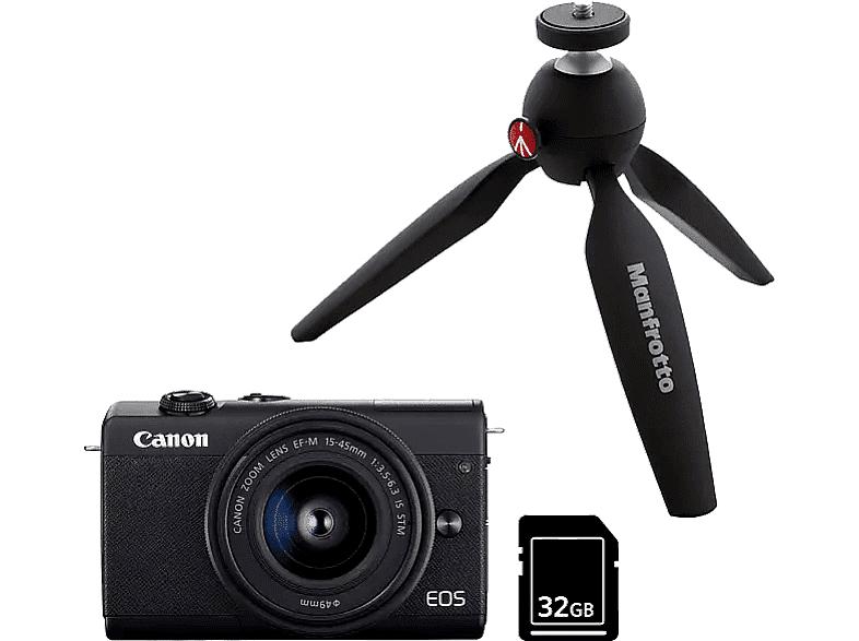Canon Cámara EVIL - Canon EOS M200, M15-45 24.1 mp, Pantalla 7.5 cm, Vídeos 4K, WiFi, Bluetooth, Negro