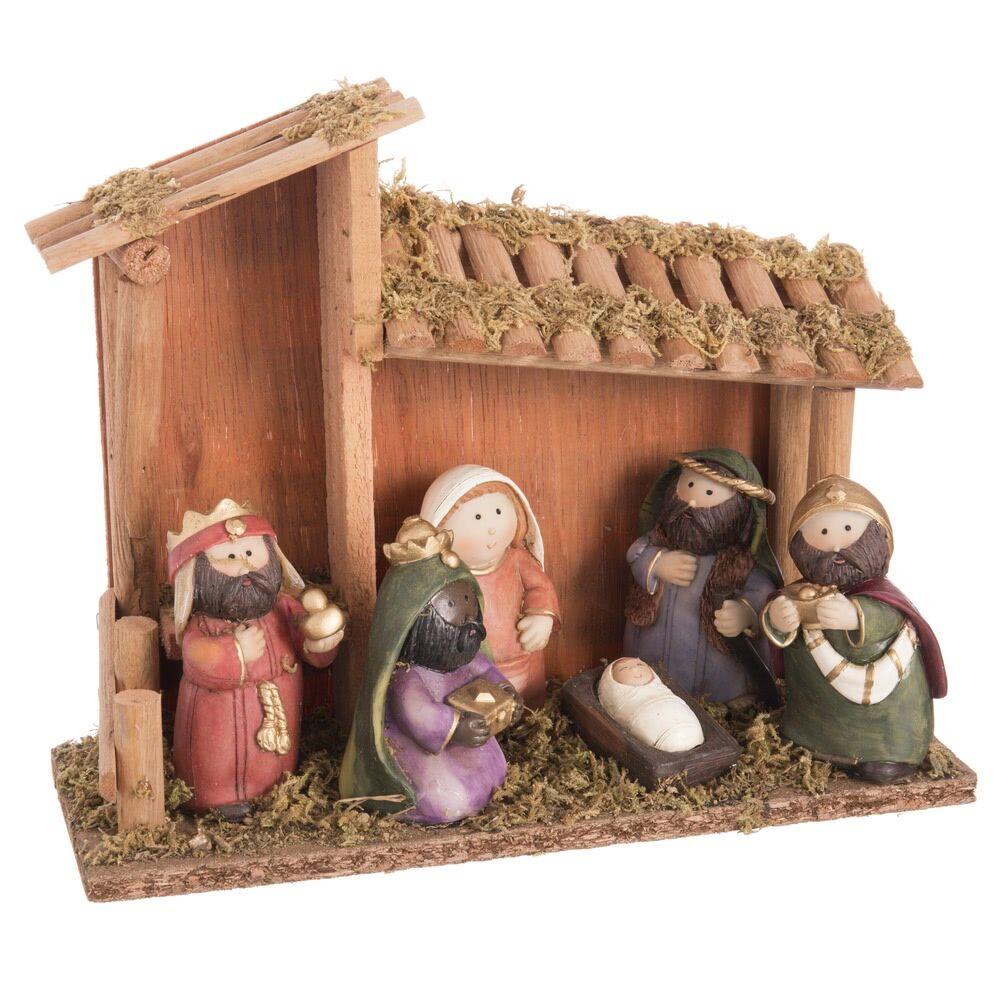 LOLA home Belén de Navidad con portal y 6 figuras marrón de resina de 25x9x20 cm