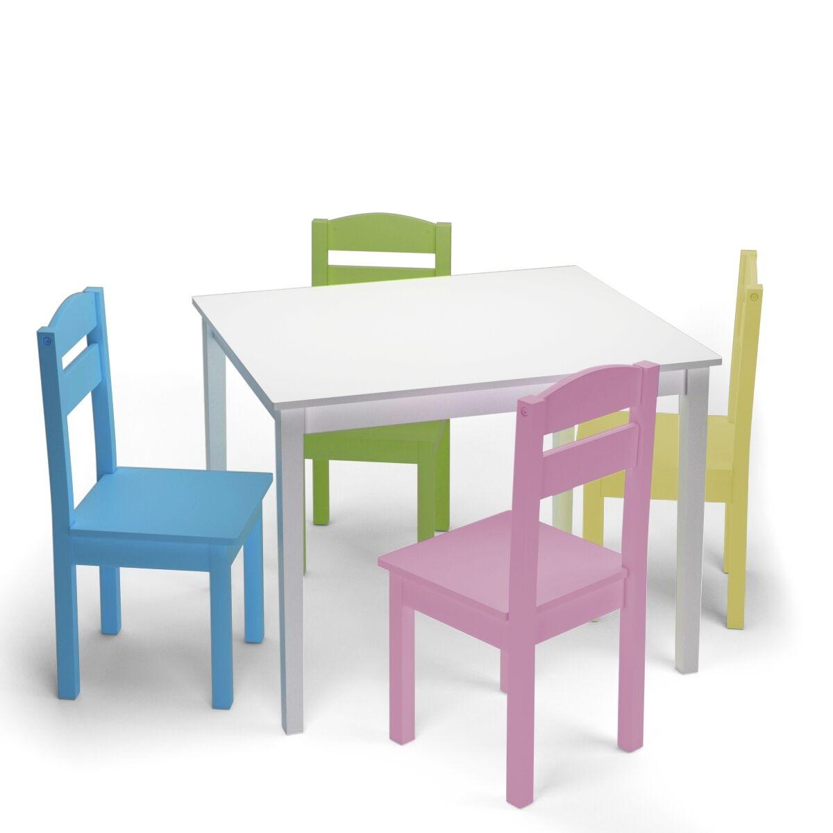 Costway Juego Mueble para Niños Mesa y 4 Sillas de Madera Escritorio para Infantil Dormitorio Sala de Juego Mesa Blanco