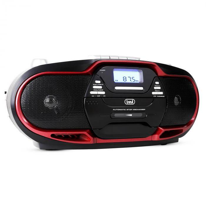 Trevi CMP-574 Reproductor de música CD MP3 USB, casetes, radio FM/AM, rojo (#0057402)