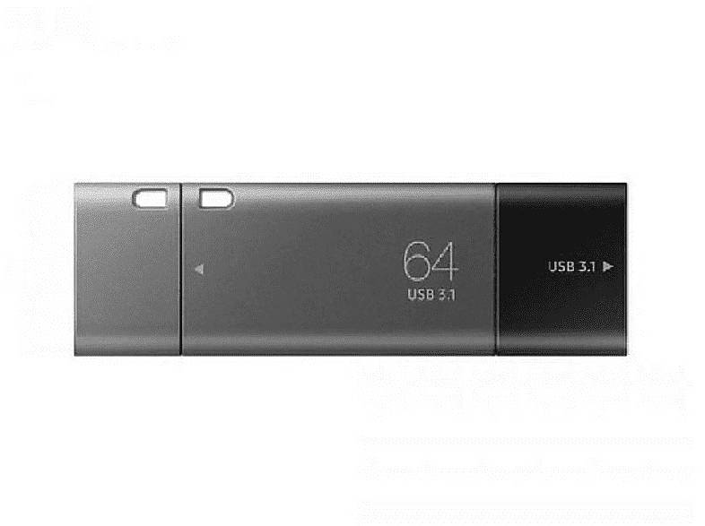 Samsung Memoria USB 64 GB - Samsung Pendrive DUO Plus 64GB USB-C / USB 3.1, Plateado/Negro