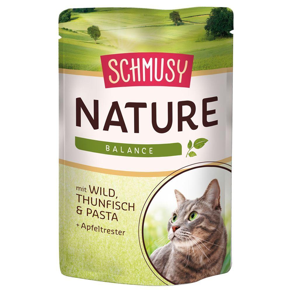 Schmusy Nature Balance en bolsitas 24 x 100 g - Pack Ahorro - Vacuno, ave, arroz y granada