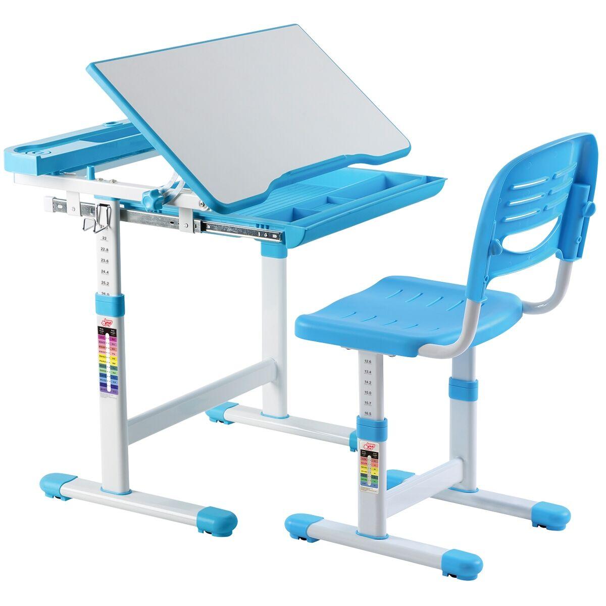 Costway Escritorio para Niños con Silla Mesa de Lectura para Infantil con Cajón Ángulo y Altura Ajustable Azul