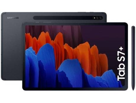 Samsung Tablet SAMSUNG Galaxy Tab S7+ (12.4   - 256 GB - 8 GB RAM - Wi-Fi - Negro)