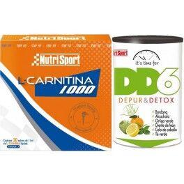 Nutrisport Pack Nutrisport L-Carnitina 1000 20 sobres x 11 ml + DD6 Depur & Detox 240 gr