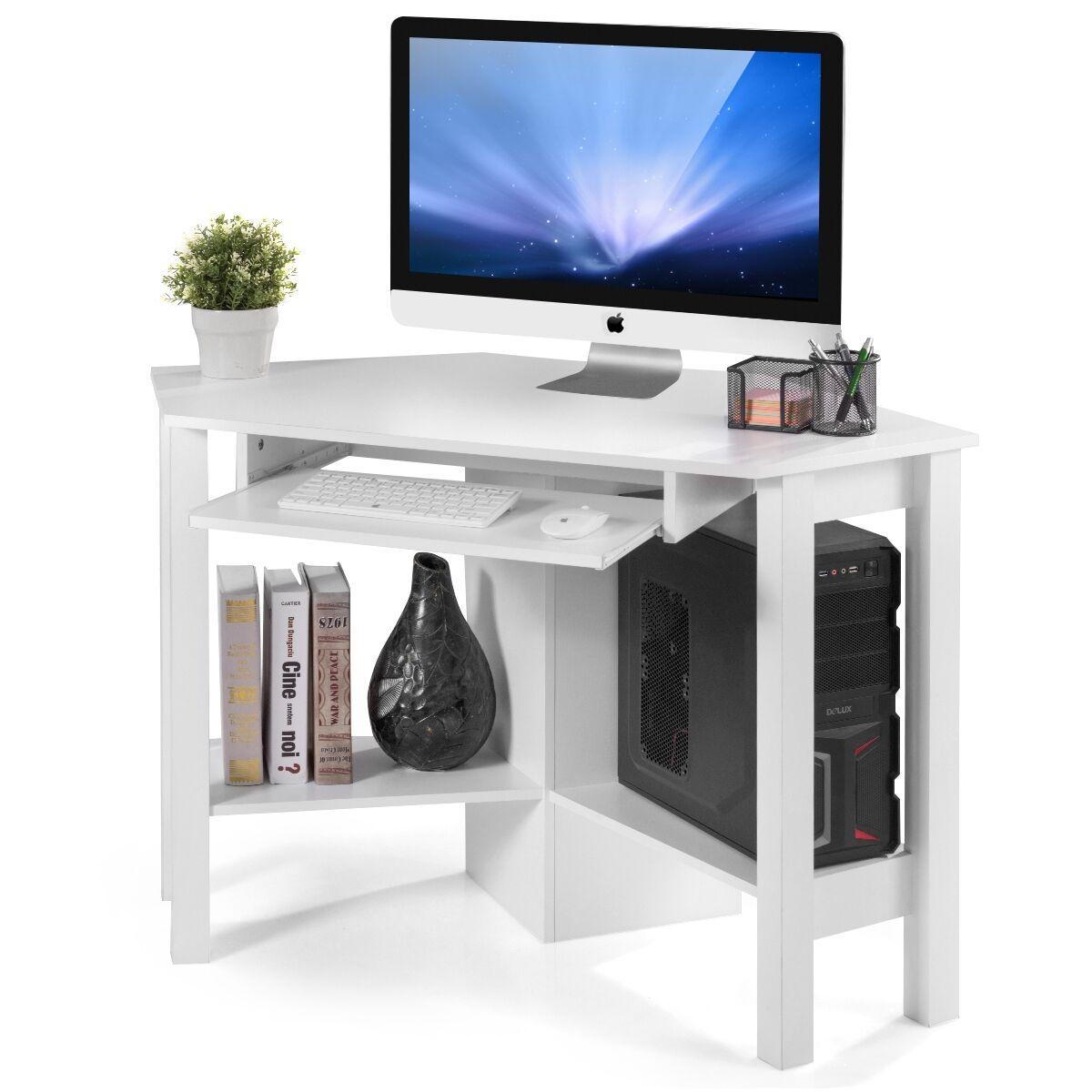 Costway Escritorio de esquina en aglomerado para ordenadores de oficina Mesa para ordenadores 120x60x77cm Blanco