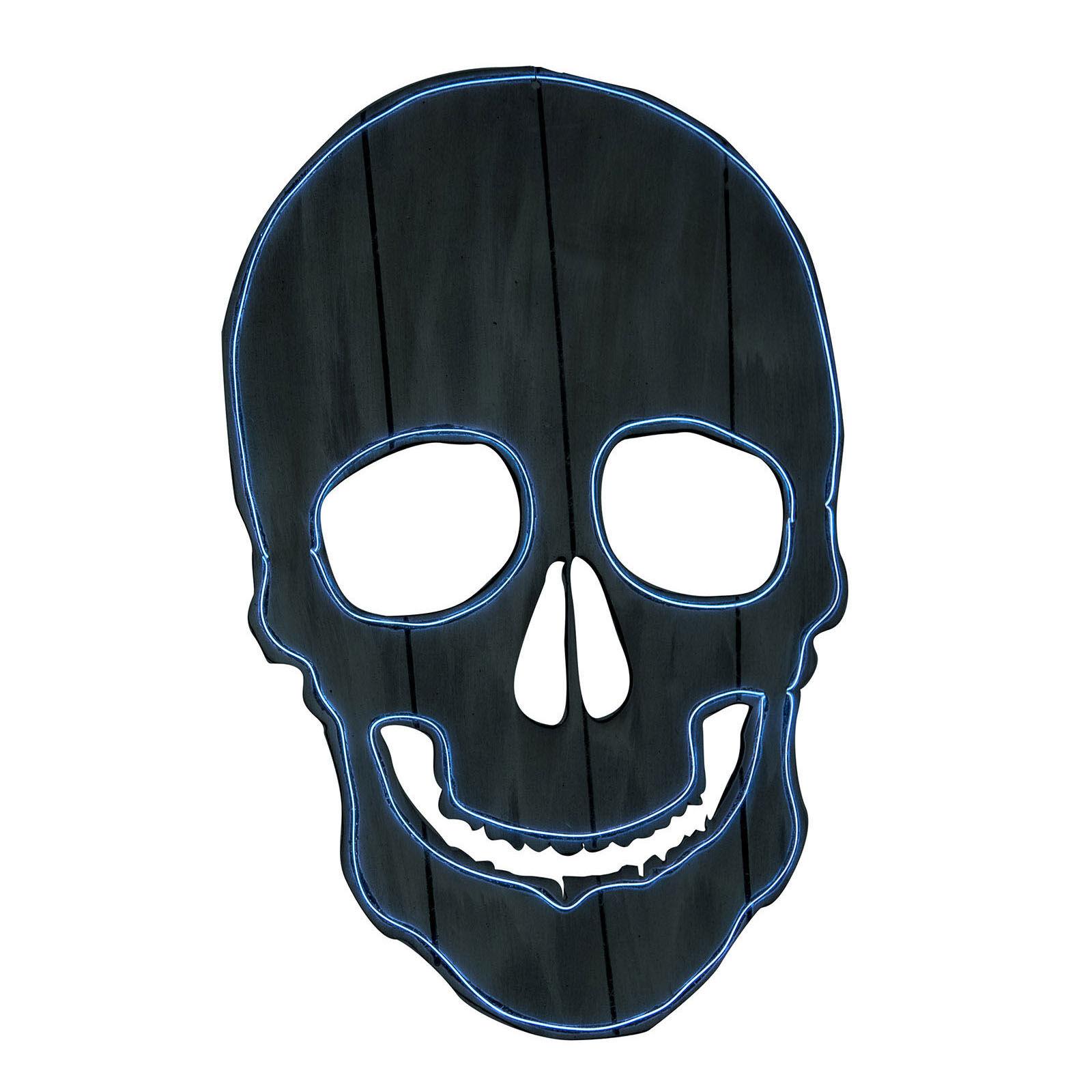 LOLA home Calavera de pared de Halloween negra goma eva de 52x34 cm
