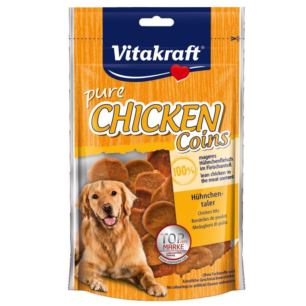 Vitakraft Snacks CHICKEN Monedas de pollo para perros - Pack % - 3 x 80 g