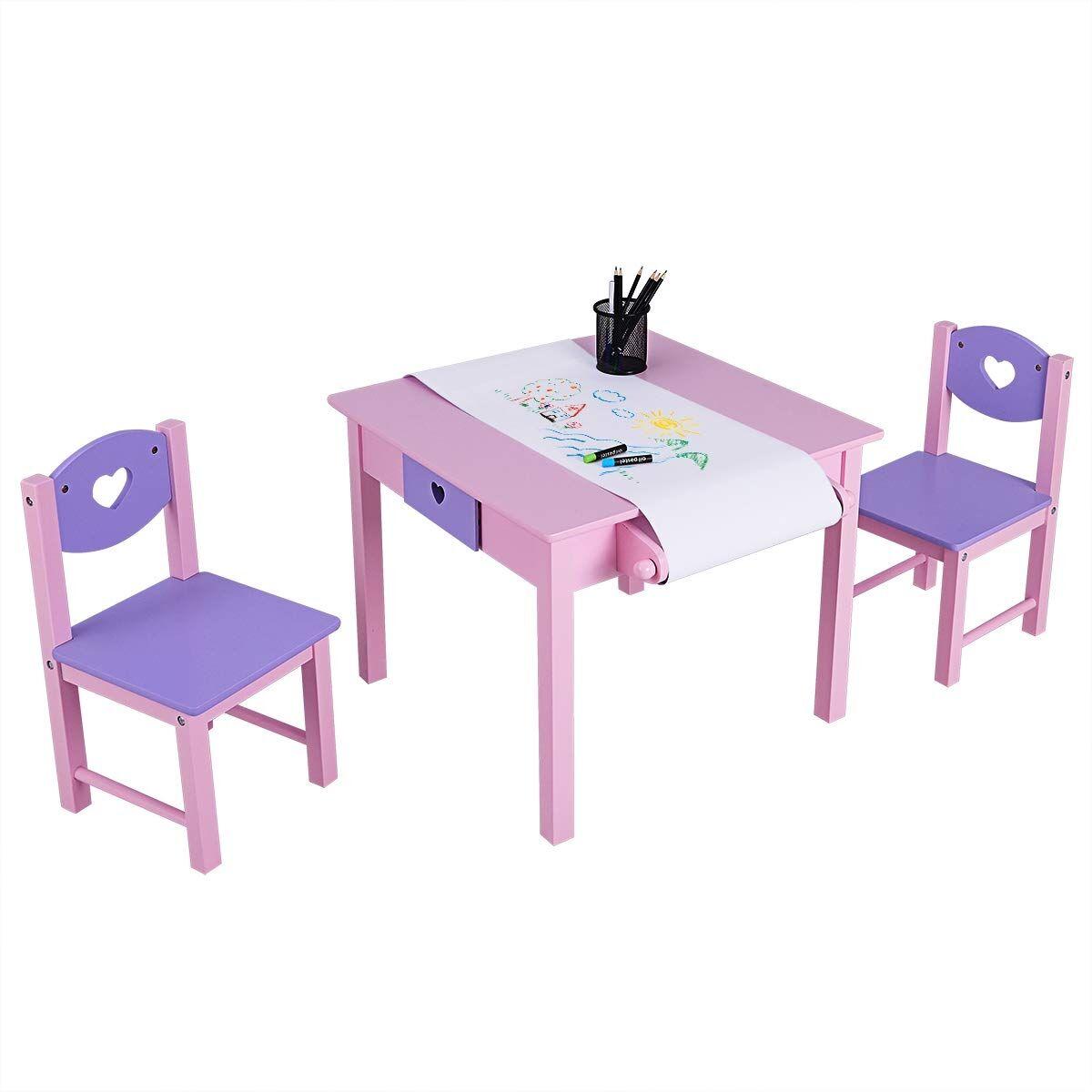 Costway Juego de Mesa y 2 Sillas Infantil Escritorio con 2 Cajones Mueble de Madera Rosa y Púrpura