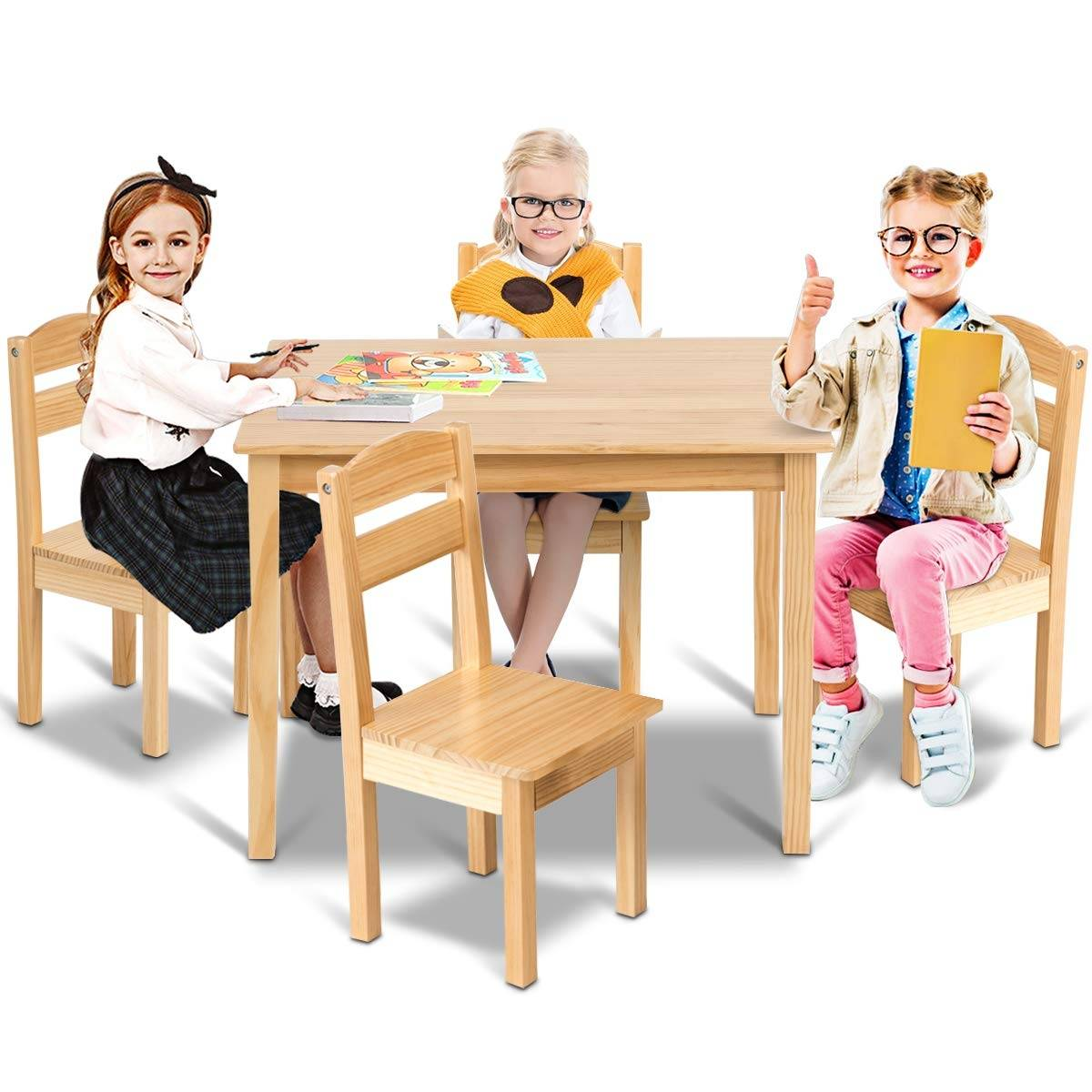 Costway Juego Mueble para Niños Mesa y 4 Sillas de Madera Escritorio para Infantil Dormitorio Sala de Juego Natural
