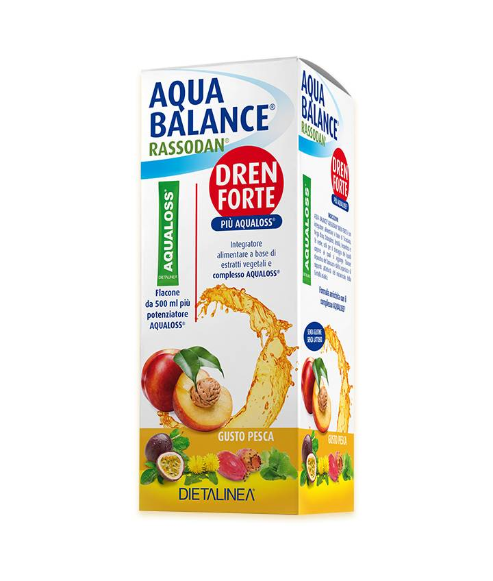 GDP Srl-GENERAL DIETET.PHARMA Dietalinea Aqua Balance Rassodan Dren Strong Peach con Aqualoss Food Supplement 500ml + 1 paquete de 2.8g