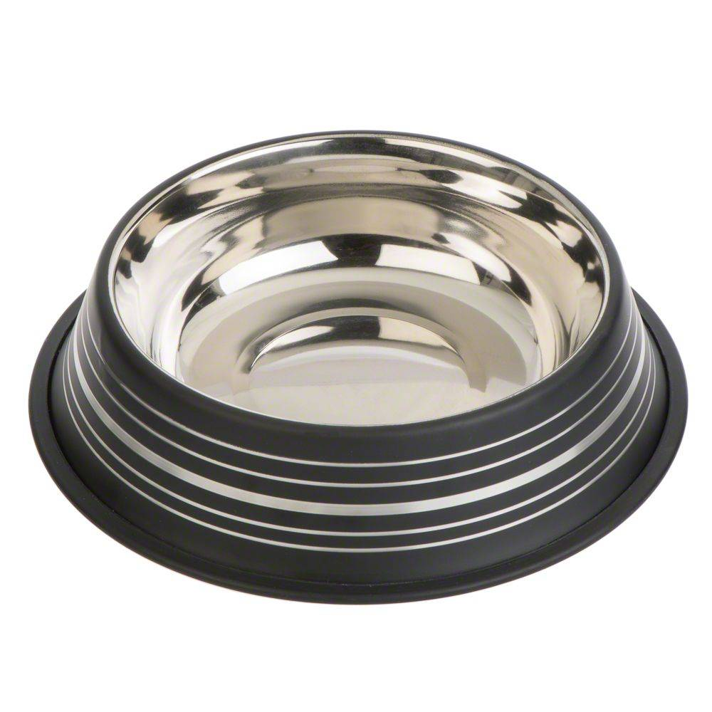 zooplus Exclusive Comedero Silver Line de acero inoxidable negro mate - Diámetro 20 cm - 450 ml