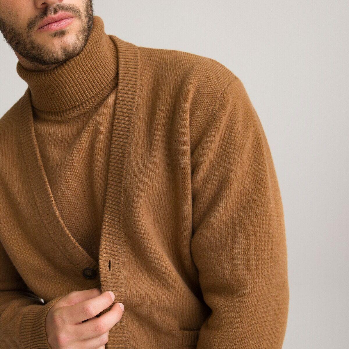 LA REDOUTE COLLECTIONS Chaqueta de botones de lana pura de oveja MARRON