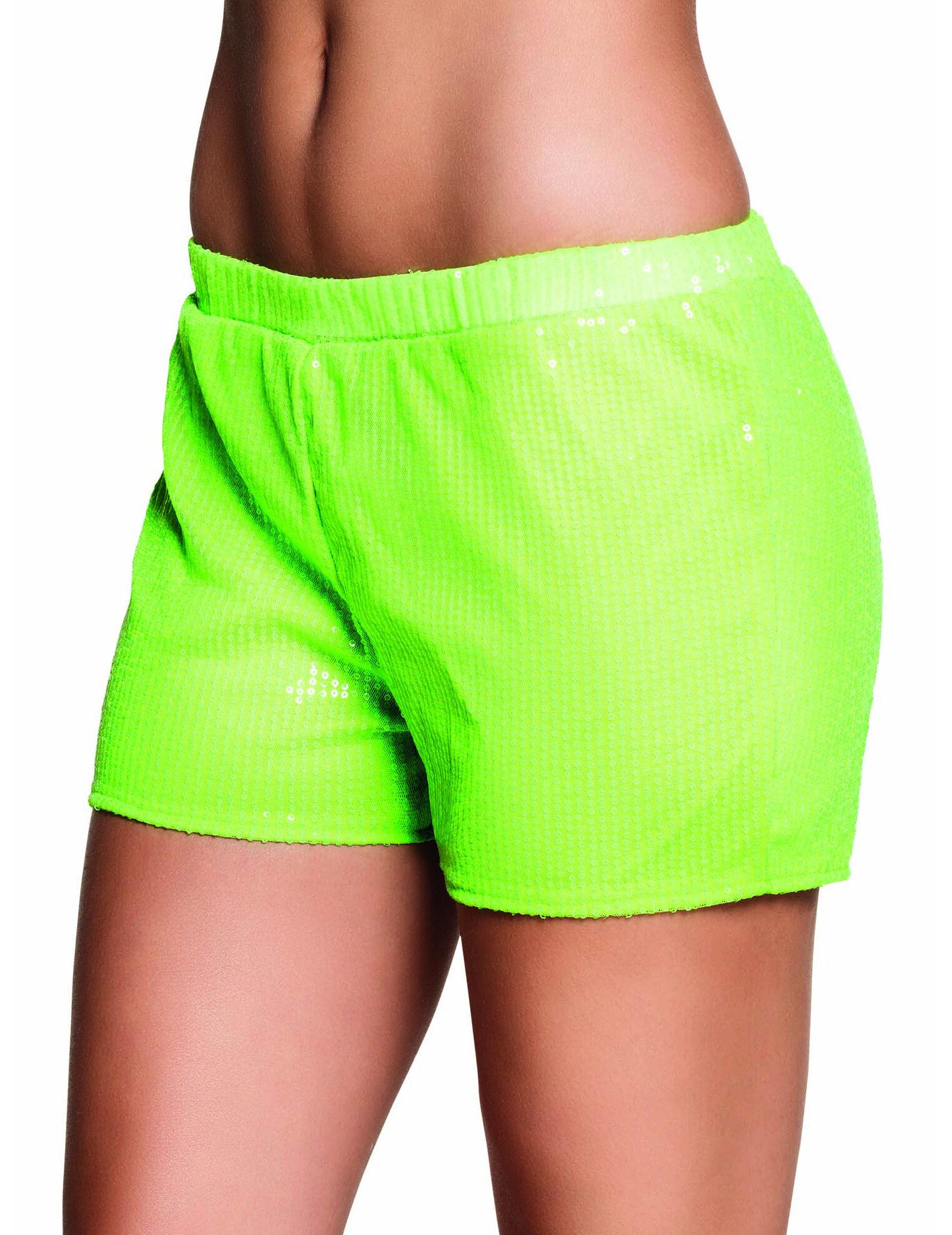 Vegaoo.es Pantalón corto lentejuelas verdes fluorescente mujer