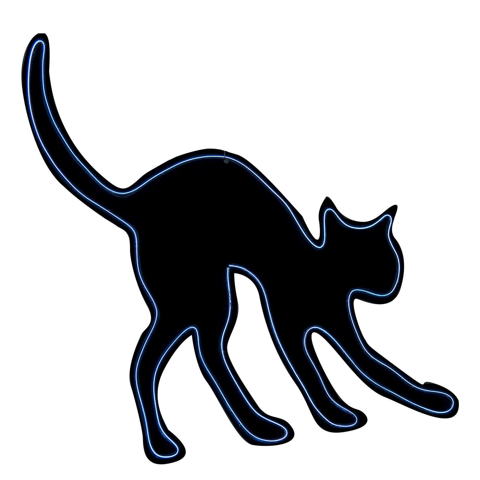 LOLA home Gato de pared de Halloween negro de goma eva de 44x36 cm
