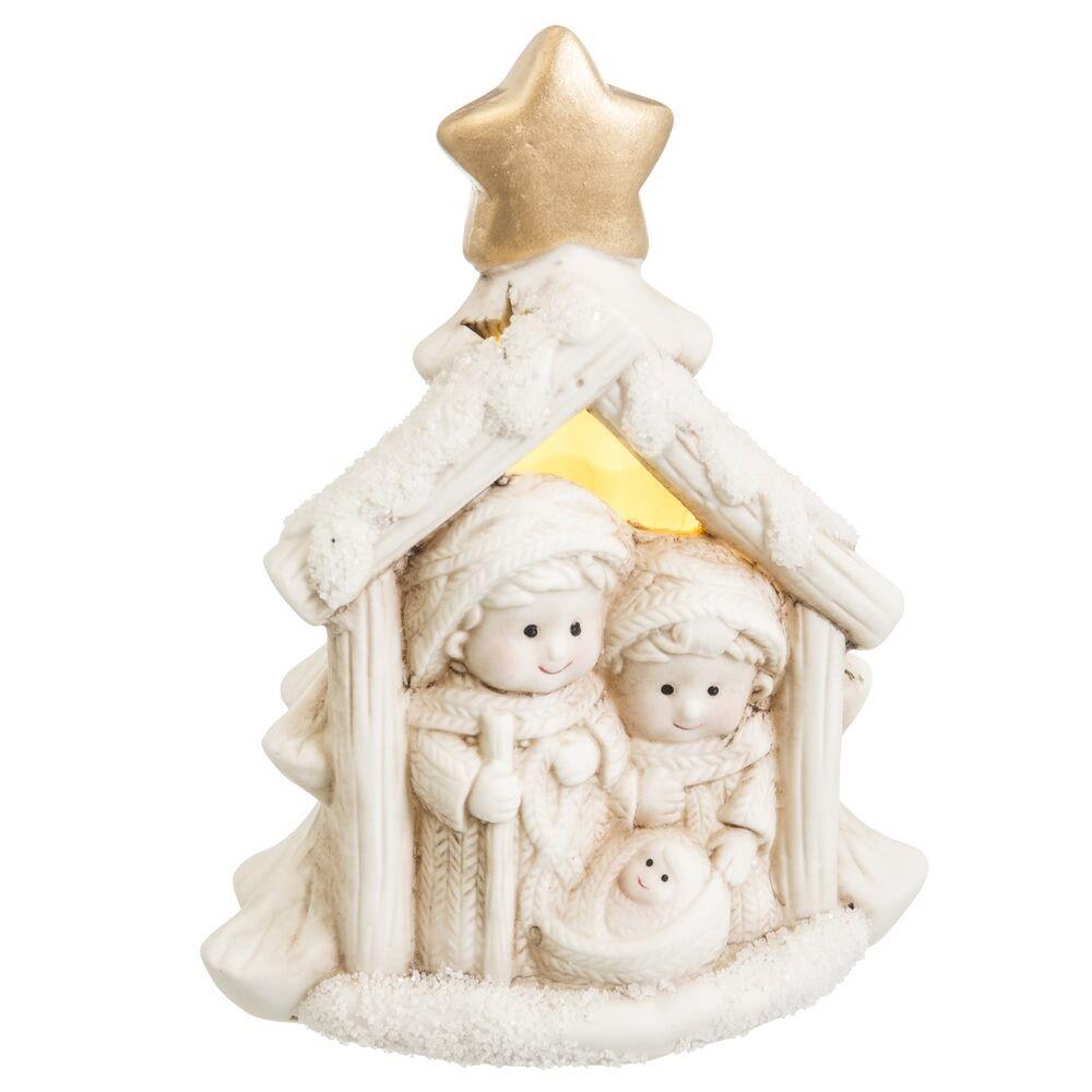 LOLA home Figura Belén de Navidad con luz blanco de porcelana de 14 cm