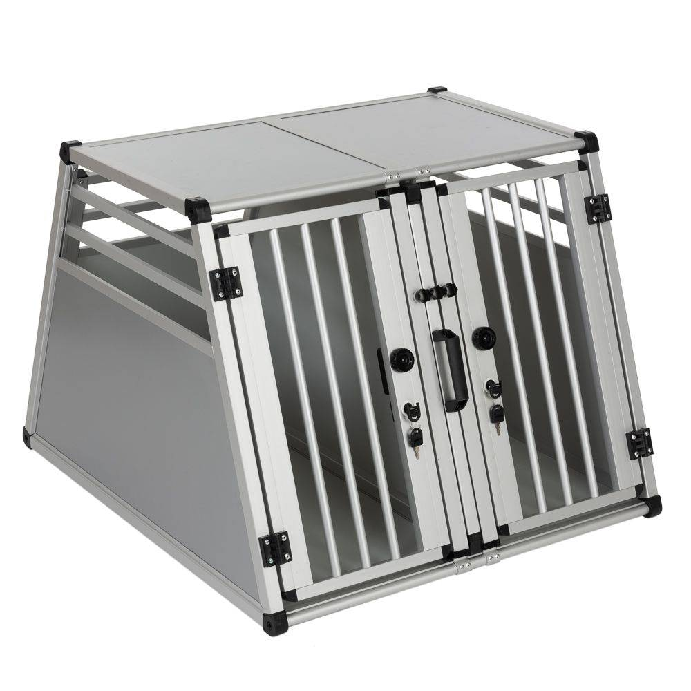 zooplus Exclusive Jaula doble de transporte AluRide para perros 80x92x65cm