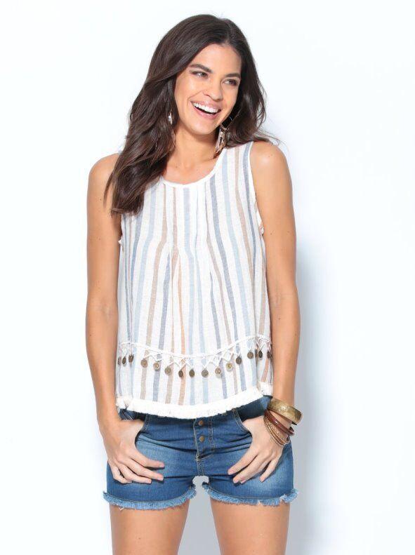 Trend Capsule By Venca Blusa de lino sin mangas con pasamanería y monedas TREND CAPSULE BY VENCA rayas