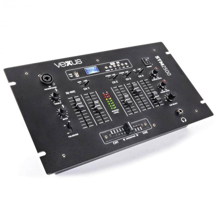 Vexus STM2500 Mesa de mezclas de 5 canales Bluetooth USB MP3 Ecualizador Fono (Sky-172.887)