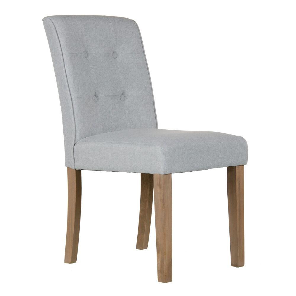 LOLA home Silla capitoné gris claro de madera y lino con botones de 47x52x92 cm