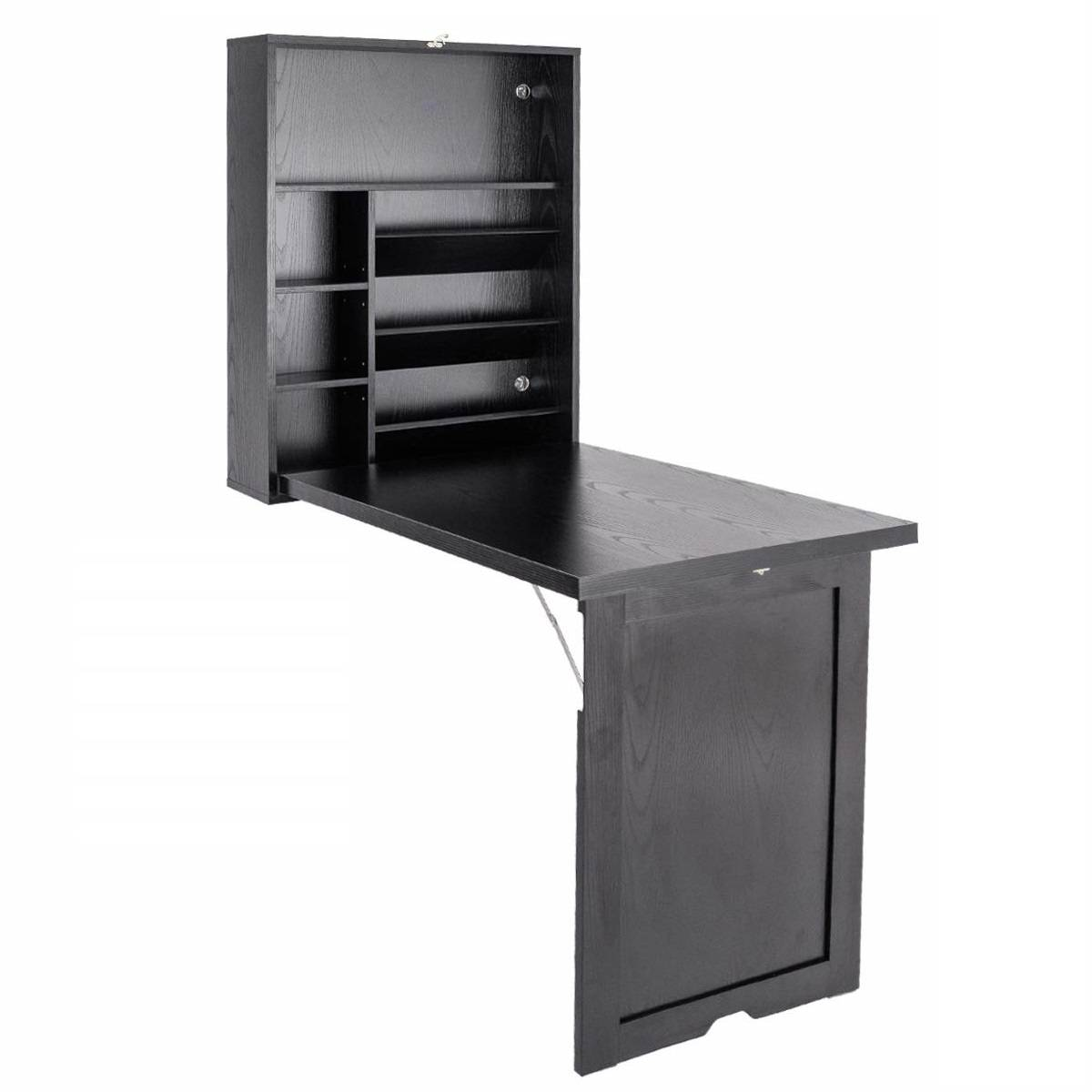 Costway Mesa de Ordenador de Pared Plegable Escritorio de Madera Portátil 151 x 94 5 x 56 5 cm Negro