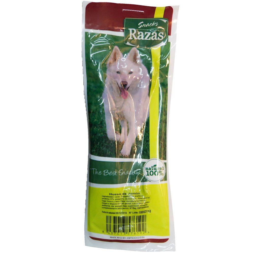 Grizzly Hueso de jamón serrano - Pack 5 unidades de aprox. 24 cm (1,75 kg)