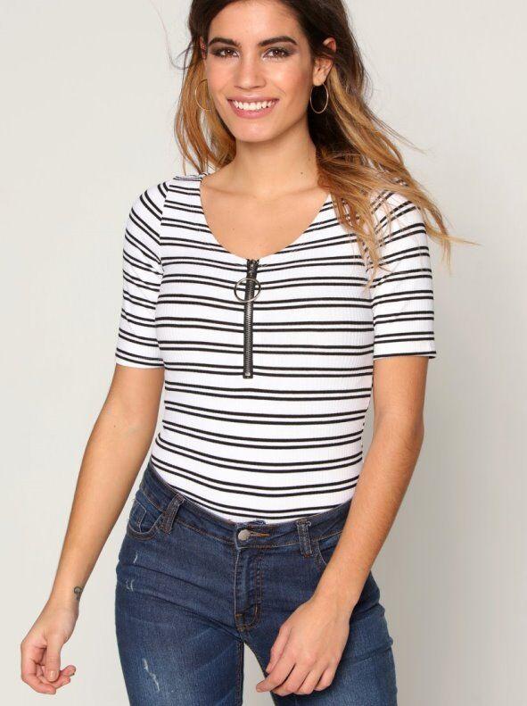 Venca Body camiseta con cremallera y tirador metálico blanco rayas L