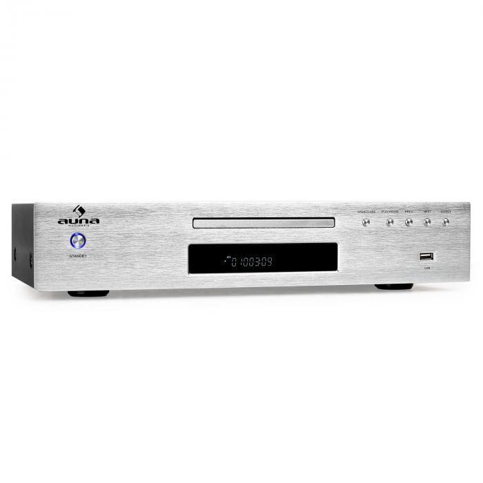 Auna AV2-CD509 Reproductor CD Hifi Radio MP3 USB plateado