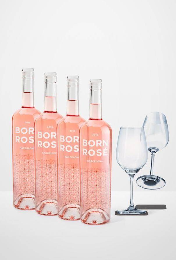 BORN ROS Barcelona PACK BARCO: Rosé, copas Silwy & posavasos imantados