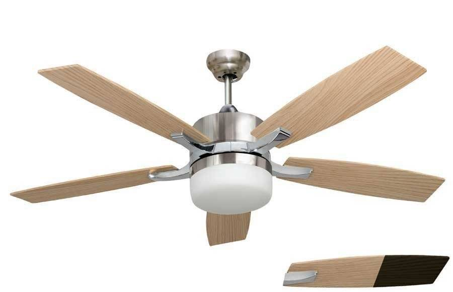 LBA Home Large Ceiling Fan Chrome And Pine / Venge 132 Cm With Powerful Light And Remote Control .