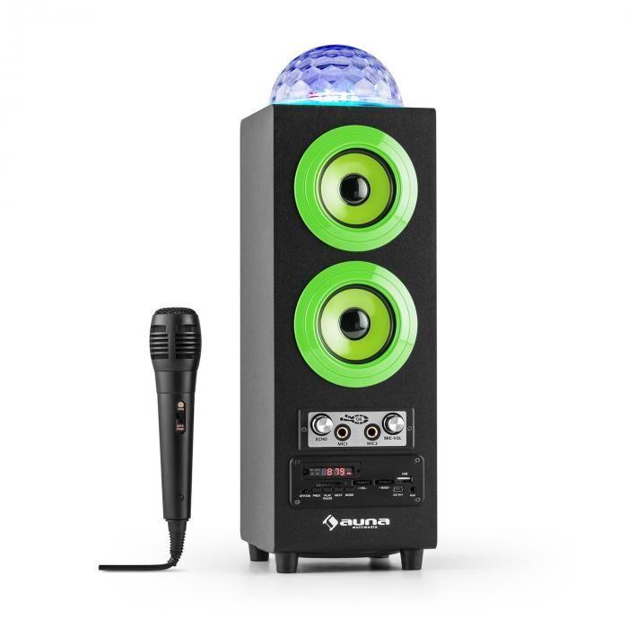 Auna DiscoStar Verde Portátil 2.1 Altavoz con Bluetooth USB SD Batería LED Micrófono