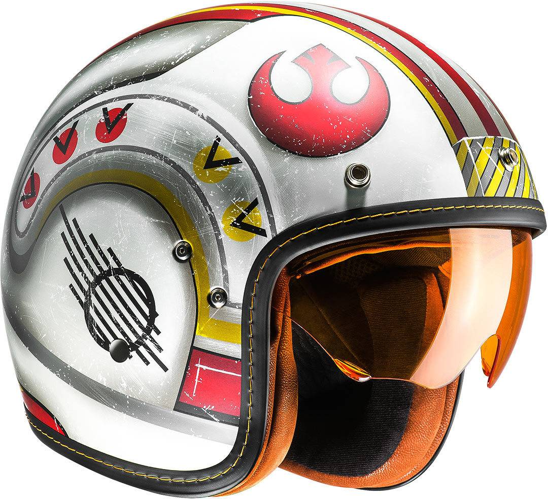 HJC FG 70s X-Wing Fighter Pilot Casco Jet Blanco Rojo M