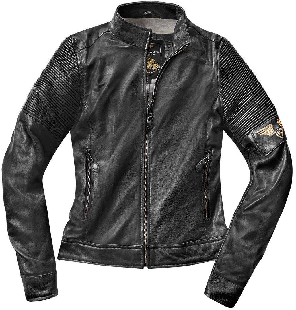 Black-Cafe London Amol Chaqueta de cuero de la motocicleta de las s... Negro S