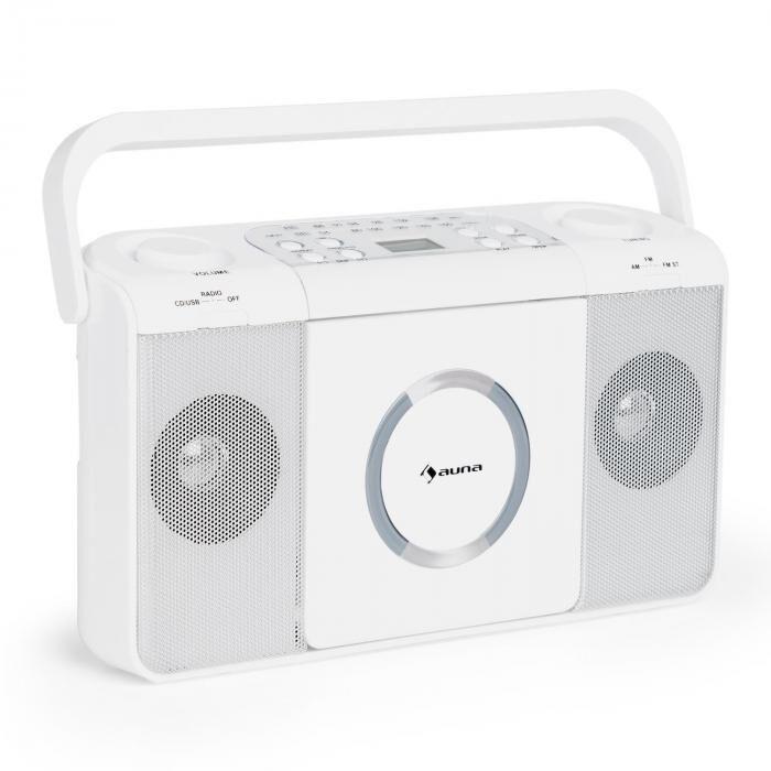 Auna Boomtown USB Reproductor de CD Radio FM MP3 portátil Boombox blanco