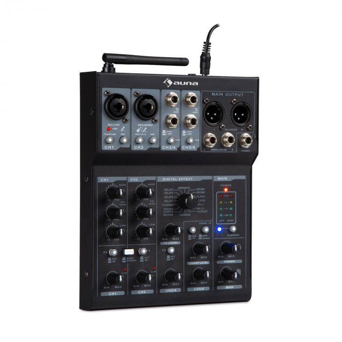 Auna Blackbird Mesa de mezclas de 6 canales Bluetooth USB MP3 2 Micrófonos XLR Negro