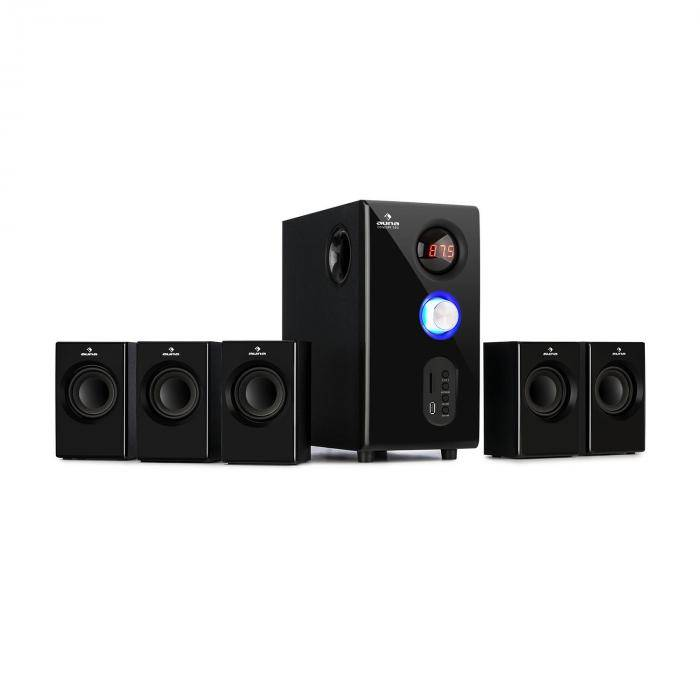Auna Concept 520 Sistema de altavoces 5.1 75 W RMS OneSide Subwoofer Bluetooth USB SD (MM-5.1-HBK)