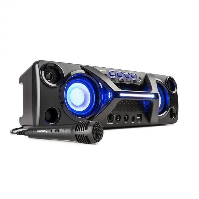 Auna Ultrasonic BT Boombox Bluetooth 2 x 20 W pantalla LCD  función Karaoke negro