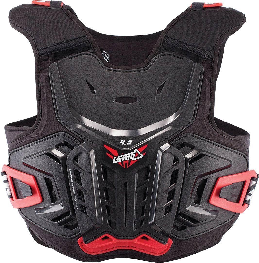 Leatt 4.5 Pro Junior Protector de pecho de los niños Negro Rojo S M