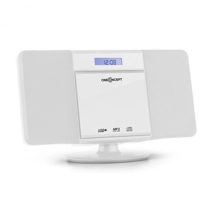 OneConcept V-13 Cadena estéreo CD MP3 USB Radio Despertador blanca montaje mural (MG3-V13-WH)